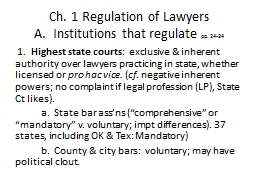 Ch. 1 Regulation of Lawyers