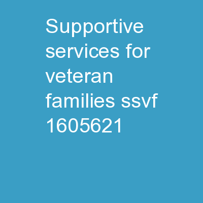 Supportive Services for Veteran Families (SSVF)