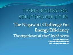 THEME: INNOVATION SOLUTIONS FOR CITIES