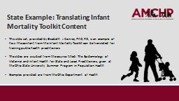 State Example: Translating Infant Mortality Toolkit Content PowerPoint PPT Presentation