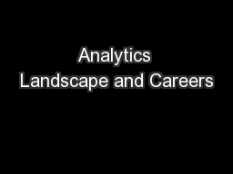Analytics Landscape and Careers