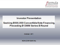 Investor Presentation Seeking $500,000 Convertible Note Financing,