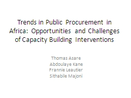 Trends in Public Procurement in Africa:  Opportunities and Challenges of Capacity Building Interven