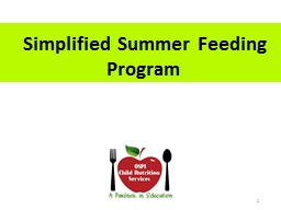 1   Simplified Summer Feeding Program