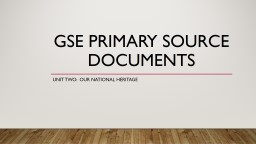 GSE Primary Source Documents
