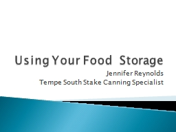 Using Your Food  Storage