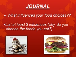 JOURNAL   What influences your food choices??