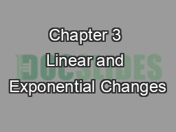 Chapter 3 Linear and Exponential Changes