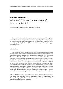 Retrospectives Who Said Debauch the Currency Keynes or