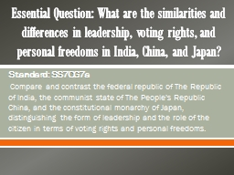 Essential Question: What are the similarities and differences in leadership, voting rights, and per