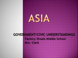 ASIA GOVERNMENT/CIVIC UNDERSTANDINGS