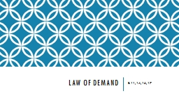 Law of Demand E. 11, 14, 16, 17