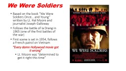 "We Were Soldiers Based on the book ""We Were Soldiers Once… and Young"" written by Lt. Hal Moor"