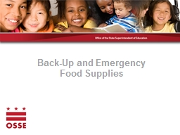 Back-Up and Emergency  Food Supplies