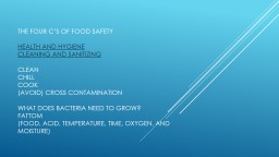 The four C's of Food safety