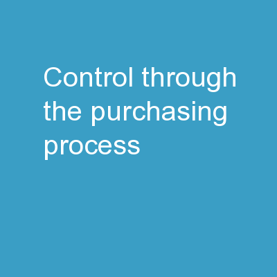 Control Through the Purchasing Process