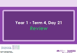 Year 1 - Term 4, Day 21 Review