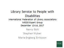Library Service to People with Disabilities