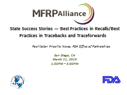 State Success Stories � Best Practices in Recalls/Best Practices in
