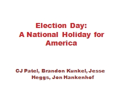 Election Day: A National Holiday for America
