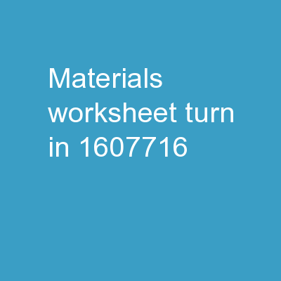 Materials:  worksheet **Turn in