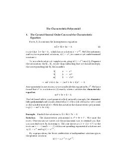 The Characteristic Polynomial