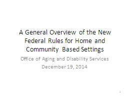 A General Overview of the New Federal Rules for Home and Community Based Settings