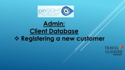Admin : Client Database Registering a new