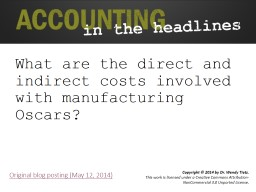 What are the direct and indirect costs involved with manufacturing Oscars?