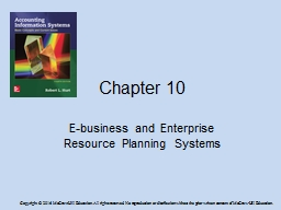 Chapter 10 E-business and Enterprise Resource Planning Systems