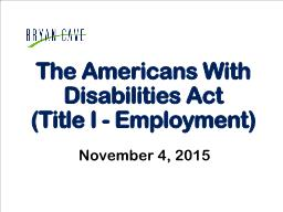 The Americans With Disabilities Act
