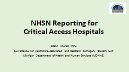 NHSN Reporting for  Critical Access Hospitals