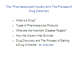 The  Pharmaceutical Industry and The Process of Drug Discovery