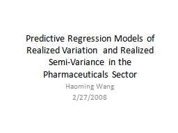 Predictive Regression Models of