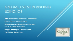 Special Event Planning  using Ics