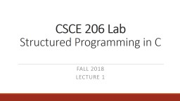 CSCE 206 Lab  Structured Programming in C