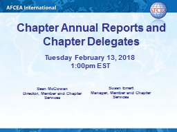 Chapter Annua l  Reports and Chapter Delegates