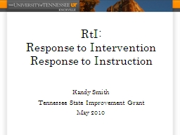 RtI : Response to Intervention