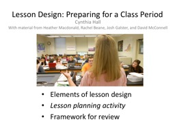 Lesson Design: Preparing for a Class Period