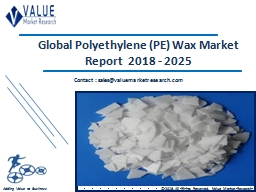 Polyethylene Wax Market Share, Global Industry Analysis Report 2018-2025