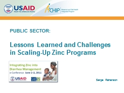 PUBLIC SECTOR: Lessons Learned and Challenges
