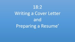 18:2  Writing a Cover Letter