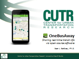 OneBusAway Sharing real-time transit info