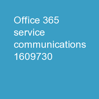 Office 365 Service Communications