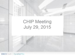 CHIP Meeting July 29, 2015