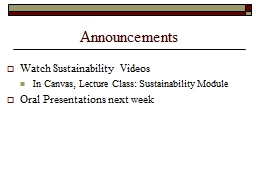 Announcements Watch Sustainability Videos