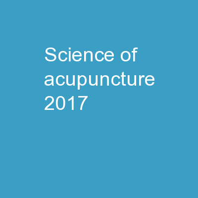 Science OF ACUPUNCTURE 2017