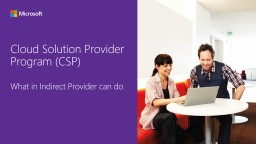 Cloud Solution Provider What an Indirect Provider Can Do PowerPoint PPT Presentation