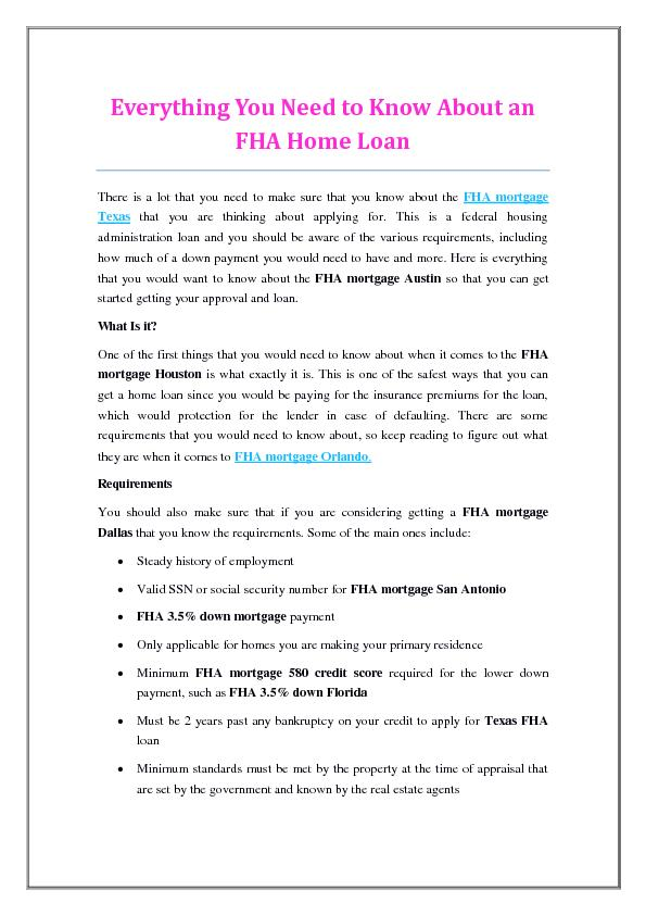 Everything You Need to Know About an FHA Home Loan