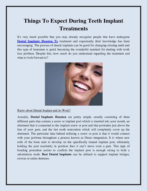 Things To Expect During Teeth Implant Treatments